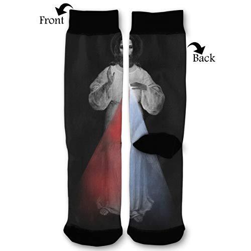 (Fashion Travel Breathable Socks Divine Mercy Jesus Christ Monochrome Painting Religious Christianity Catholic Men & Women Running Casual)