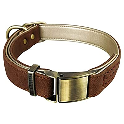 Fourhorse Basic Classic Luxury Padded Leather Dog Collar,The Seatbelt Buckle,for Large Medium Small Pets