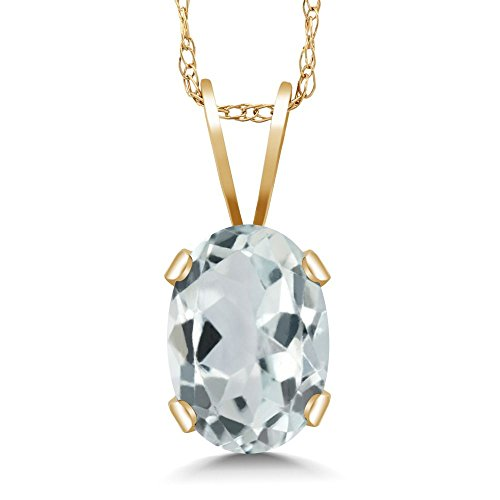 Gem Stone King 0.72 Ct Oval Sky Blue Aquamarine 14K Yellow Gold Pendant With Chain