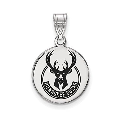 LogoArt NBA Milwaukee Bucks Medium Disc Pendant in Rhodium Plated Sterling Silver by LogoArt