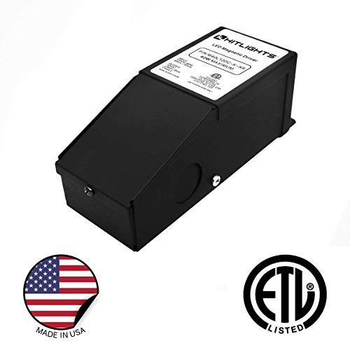 HitLights 40 Watt Dimmable LED Driver, 12V Magnetic Power Supply - 110V AC - 12V DC LED Transformer. Compatible with Lutron and Leviton for LED Strip Lights, Constant Voltage LED Products