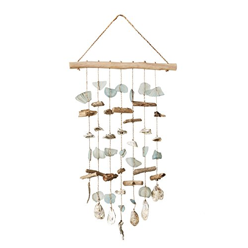 Creative Co-op Driftwood Hanging Wind Chime Wall Décor (Chime Driftwood Glass)