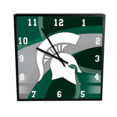 NCAA Michigan State University Official Carbon Fiber Square Clock, Multicolor, One Size