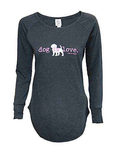 Dog is Good Women's Dog is Love Long Sleeve T-Shirt - Great Gift for Dog Lovers (Small) Black ()