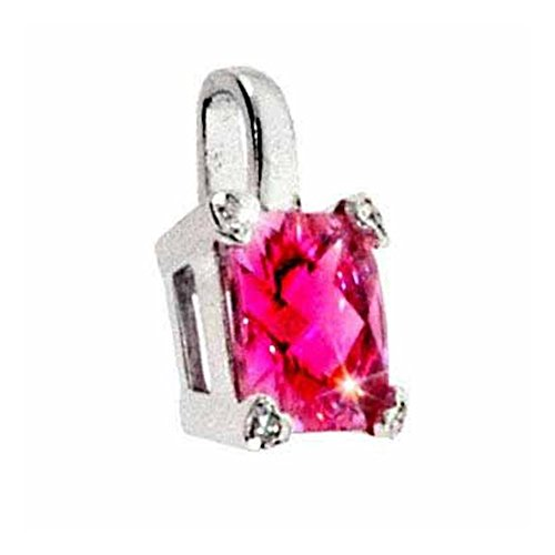 (Glitzs Jewels Sterling Silver Lab Simulated Pink Sapphire& Cubic Zirconia Square & Heart Pendant)