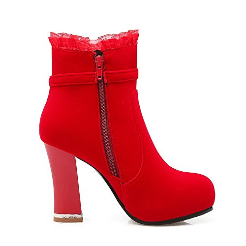 Red Toe High Solid Heels Imitated Round Zipper Women's Suede Boots Closed AgooLar 7aqF1RwPz