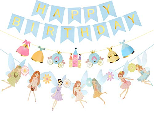 Fairy Birthday Party Supplies (Fairy Birthday Decoration | Flower Fairies Girls Birthday Banner | Blue Happy Birthday Banner | Blue and Gold Birthday Party Decorations | Fairy & Flower shape birthday party banner |)