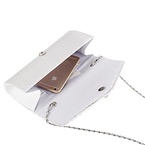 Womens Handbag Pleated JIAN NA YA Studded Satin Clutch Crystal White Evening Evening Clutch qBBER0