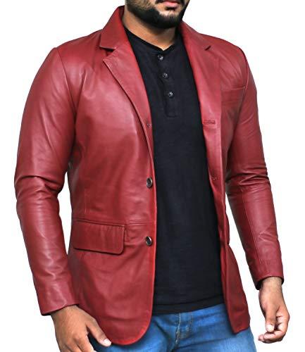 Laverapelle Men's Genuine Lambskin Leather Jacket (Black, Officer Jacket) - 1501830