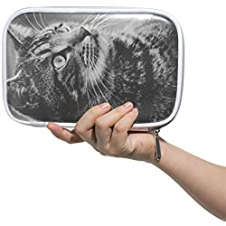 DEZIRO Cat Movie Picture Multifunctional Makeup Brush Holder Organizer Bag Cosmetic Bag Case with Inner Mesh Bag for Travel