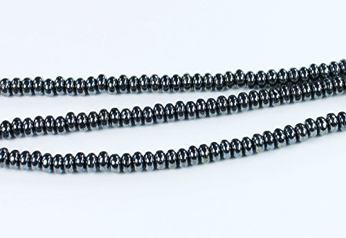 100 Hematite Czech Pressed Glass Rondelle Spacer Beads 4mm