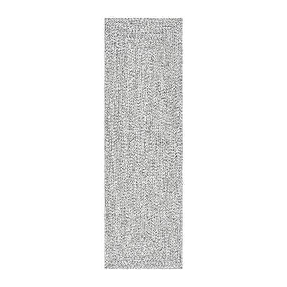 "nuLOOM Lefebvre Braided Indoor/Outdoor Runner Rug, 2' 6"" x 6', Salt and pepper - Style: Contemporary, Solid & Striped, Outdoor, Coastal Material: 100% Polypropylene Weave: Braided - runner-rugs, entryway-furniture-decor, entryway-laundry-room - 41lMTpE xFL. SS570  -"