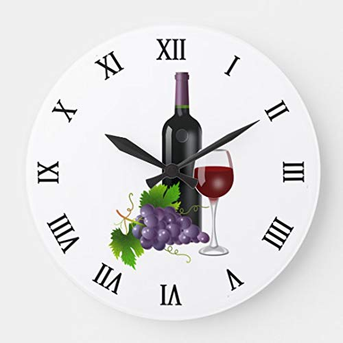 Moonluna Grapes and Wine Wall Clocks Battery Operated Wooden Clock Decorations for Kitchen 10 inches
