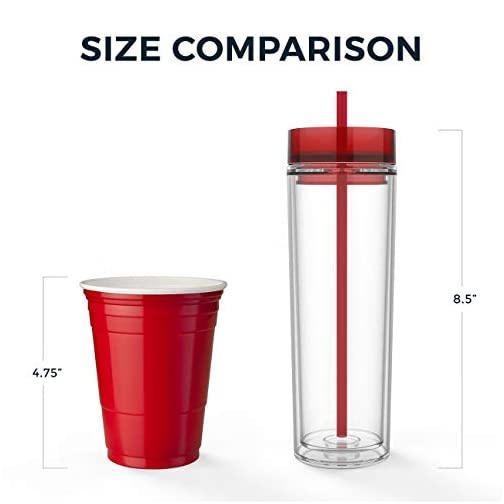 Maars Drinkware Double Wall Insulated Skinny Acrylic Tumblers with Straw and Lid, 16 oz. (4 pack, Clear) |
