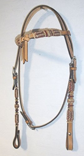 - RSI Western Leather Headstall/BRIDLE RawhideFuturity Knot Browband Natural 018