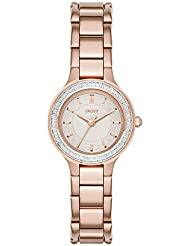 DKNY Womens NY2393 CHAMBERS Rose Gold-Tone Stainless Steel Watch with Crystal Bezel