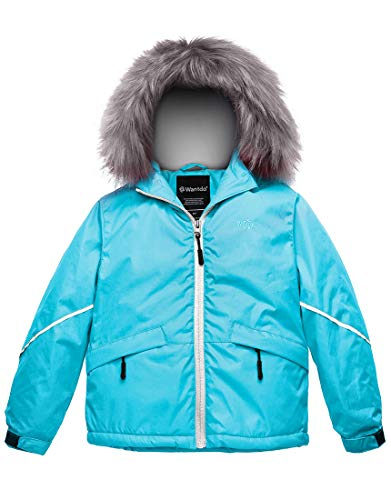 Wantdo Girl's Waterproof Ski Jacket Warm Raincoat with Fur Hood Blue 14/16