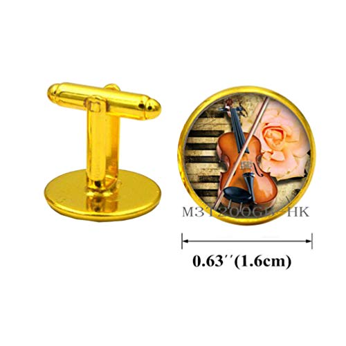 Botewo0lbei Musical Instrument Cufflinks, Music Lovers Jewelry, Music Score Cuff Links, Handcrafted Cufflinks & Cuff Links-MT284 (W2)