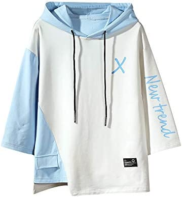 GURUNVANI Men/'s Color Block Short Sleeve Casual Fashion Hip Hop Hooded Henley Shirt