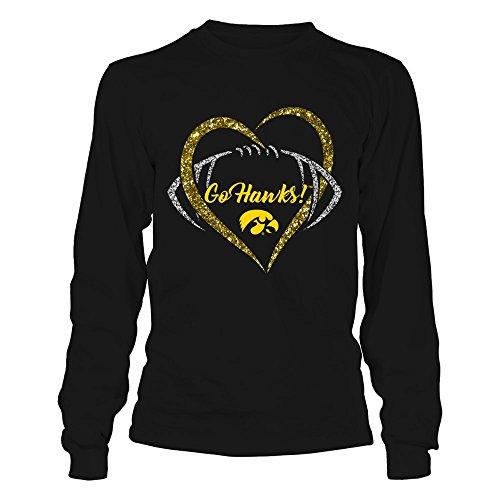 Iowa Hawkeyes - Heart Football - Gildan Long-Sleeve T-Shirt - Officially Licensed Fashion Sports Apparel