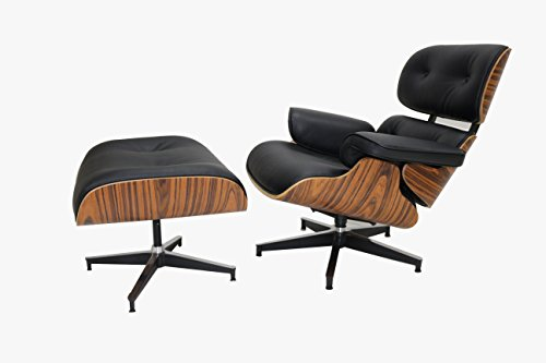 Tome Replica Eames Lounge Chair Ottoman In Black Premium Top Grain Real Leather Palisander