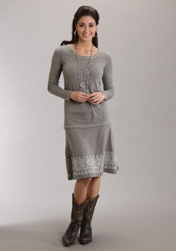 (Stetson Heather Grey Long Sleeve Knit Tee Ladies Collection- Fall I (XL) 11-038-0513-0604GY)