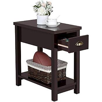 Amazon.com: Yaheetech Mesa auxiliar con 2 cajones y estante ...
