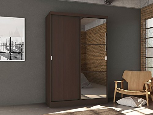 Home Source Wardrobe with Sliding Doors, Espresso -