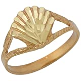 10k Yellow Gold Split Band Sea Shell Ladies Gorgeous Diamond Cut Ring