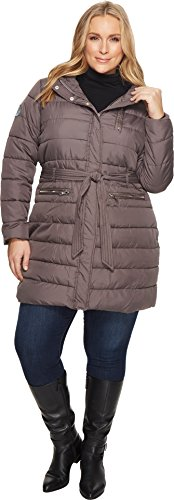 U.S. Polo Assn. Women's Plus Size Long Self Belt Puffer Coat, New Gray, 2X