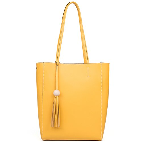 [BOSTANTEN Genuine Leather Handbags Tassel Designer Tote Shoulder Bag Purse for Women on Sale Yellow] (Yellow Purses)