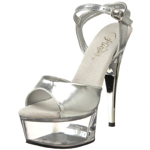 Pleaser Women's CAPTIVA-609/S/C Platform Sandal,Silver/Clear,11 M US