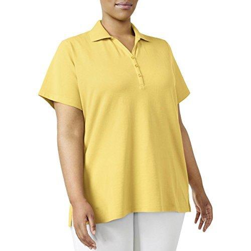 Textured Split Neck - Karen Scott Womens Plus Textured Split Neck Polo Top Yellow 1X