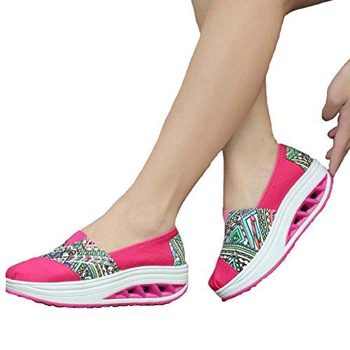 Angelliu Mujeres Señoras Zapatos De Lona Ocasionales Al Aire Libre Plataforma Atlética Entrenadores Rosa