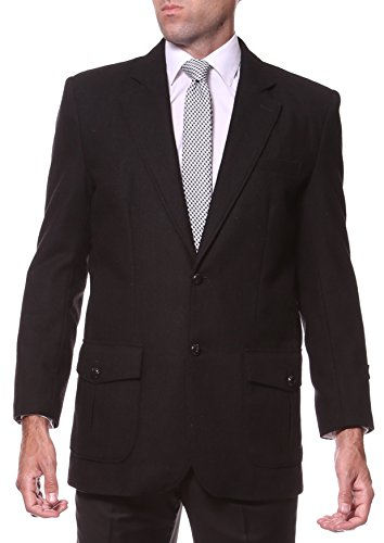 42L Ferrecci Mens Regular Fit Hampton Black 2 Button Elbow Patch Wool Blazer