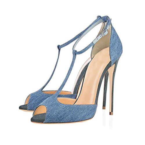 Sandals Dress Peep High Heel Ankle strap Eldof Denim Shoes 10cm Buckle Pumps Womens T Toe Wedding qORBwt