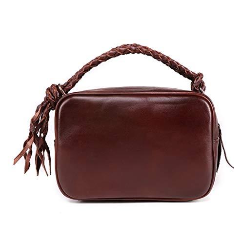Bandolera Vintage Bolso Monederos De color Genuino Asa Para Con Mujer Black Monedero Brown2 Baachang Cuero Superior C54ngqwgT