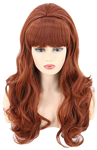 Topcosplay Womens Wig Long Wavy Brown Ginger Red