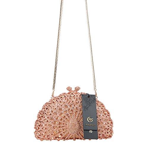 Peacock Crystal Glitter Girls Black Evening For Bonjanvye Gold Rose Bag Clutch ZRx5UBw