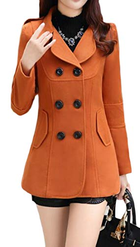 olid Double Breasted Short Trench Jacket Pea Coat Overcoat 1 L ()
