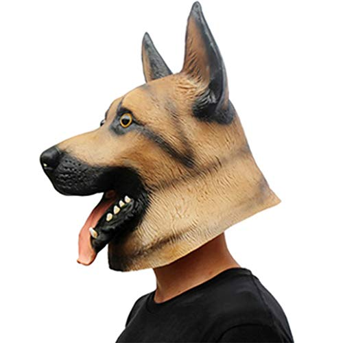 (Marching orchid Halloween Party Party Mask Latex Wolf Dog Styling Hood Show Animal Shape Mask DIY Role)