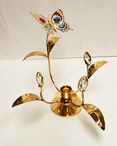 Antique Flower w/Butterfly Taper Holder - 24k Gold Plated with Mixed Color Swarovski Austrian Crystal ()