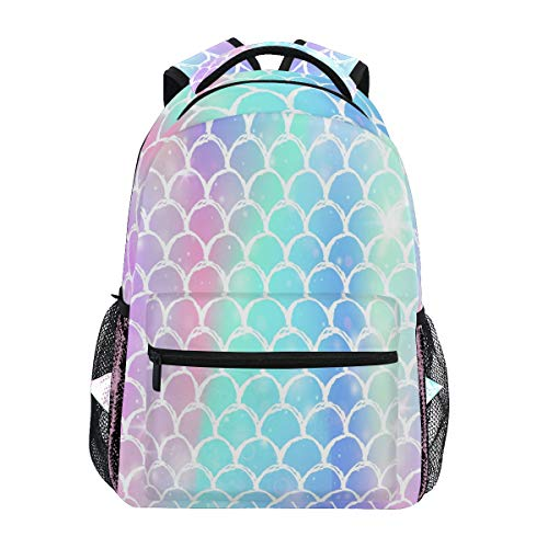 Wamika Colorful Mermaid Scale Backpacks for Girls Women, Rainbow Marble Galaxy Computer Laptop Backpack, Fish Scales Kid's School Book Bag, Casual Travel Camping Daypack]()