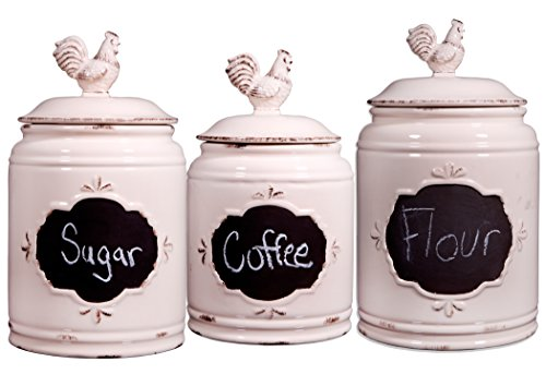 Home Essentials S/3 Ivory Chalkboard Canisters by Home Essentials & Beyond