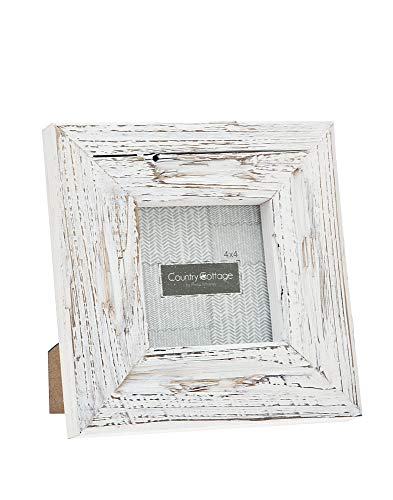 Philip Whitney Picture Frame Fits 4X4 Photo Barn White Wood