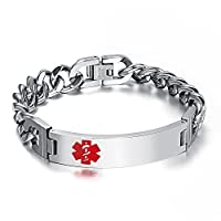Free Engraving- Stainless Steel High Polished Cuban Chain Medical Alert ID Bracelets Men, Comfortable Skin
