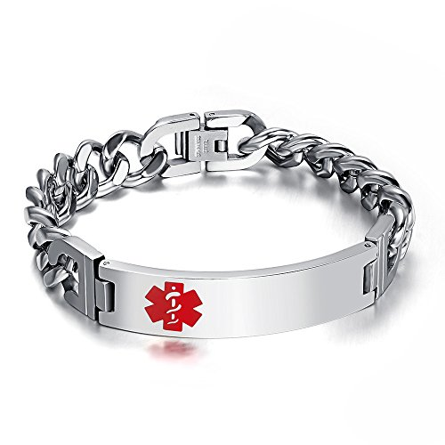 Free Engraving- Stainless Steel High Polished Cuban Chain Medical Alert ID Bracelets for Men, ()