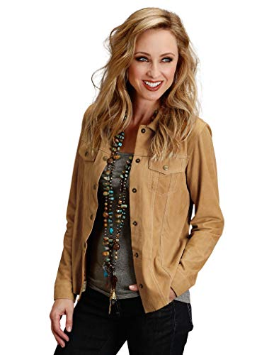 (Stetson Womens Brown Leather Suede Denim Jacket XS)