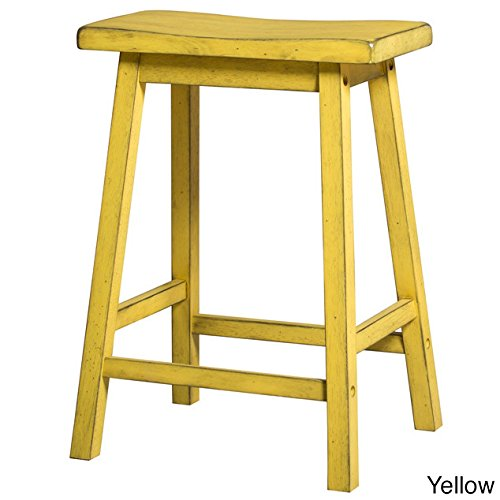 MattsGlobal French Country Antique Wooden Saddle Seat Bar Stool (Set of 2) (Antique Yellow)
