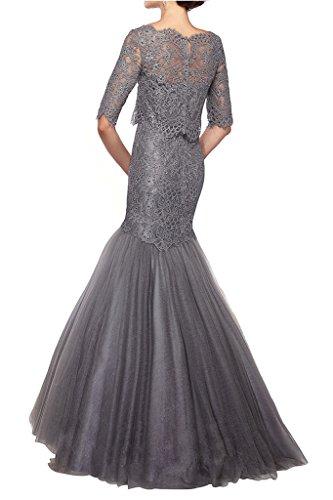 Abendkleider Lang Champagner Grau Abschlussballkleider Spitze Glamour Meerjungfrau Langarm Damen Abiballkleider Charmant wYzRqx6OO